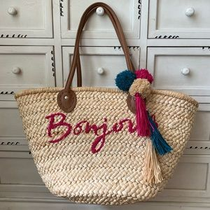 Large Bonjour Straw Woven Large Tote Bag